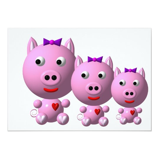 Cute little piggy with hearts and bow! card