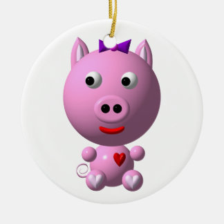 Cute little piggy with hearts and bow! ceramic ornament