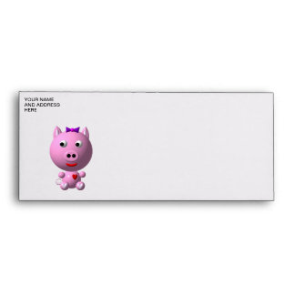 Cute little piggy with hearts and bow! envelope