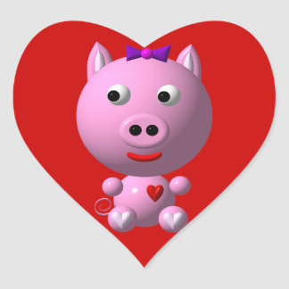 Cute little piggy with hearts and bow! heart sticker