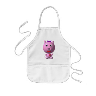 Cute little piggy with hearts and bow! kids' apron