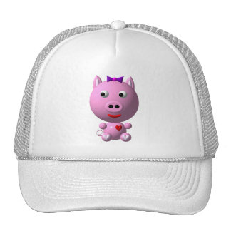 Cute little piggy with hearts and bow! mesh hats