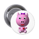 Cute little piggy with hearts and bow! pin