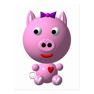 Cute little piggy with hearts and bow! postcard