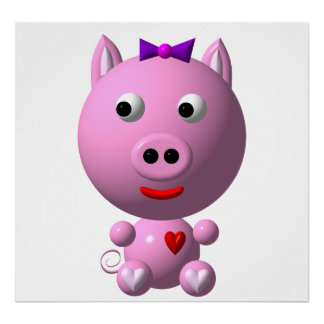 Cute little piggy with hearts and bow! poster