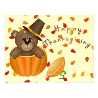 Cute Little Pilgrim Teddy Bear in a Pumpkin Postcard