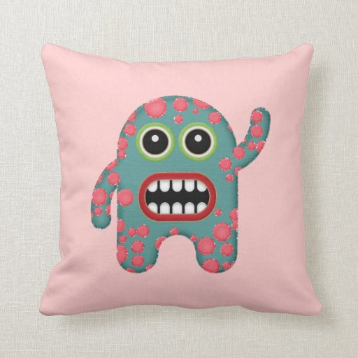 Cute Monster Pillow : Cute Little Pink and Blue Smiling Monster Pillows Zazzle