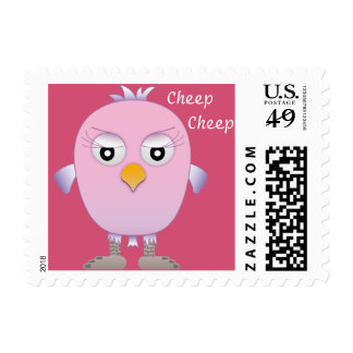 Cute little pink and violet baby bird postage