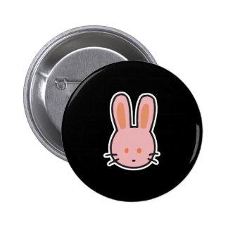 cute little pink bunny face pinback button