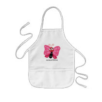 Cute Little Pink Butterfly Personalized Kids' Apron