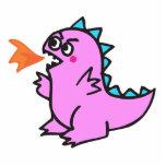 cute little pink fire dragon monster photo cutout