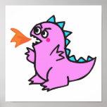 cute little pink fire dragon monster poster