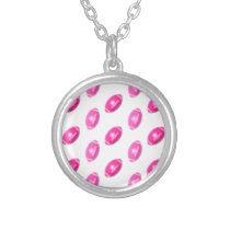 Cute Little Pink Footballs Silver Plated Necklace