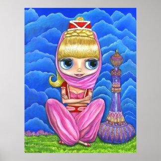 Cute Little Pink Genie Girl & Purple Magic Bottle Poster