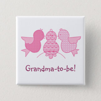 Cute Little Pink Grandma to be,  Birds Baby Shower Pinback Button