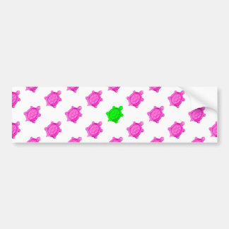 Cute Little Pink/Green Turtle Pattern Bumper Sticker