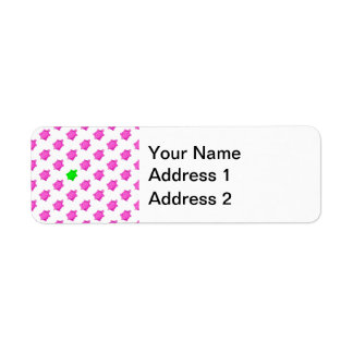 Cute Little Pink/Green Turtle Pattern Label