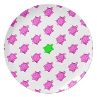 Cute Little Pink/Green Turtle Pattern Plates