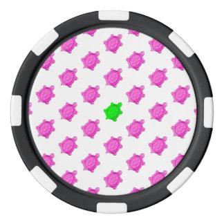 Cute Little Pink/Green Turtle Pattern Poker Chips Set