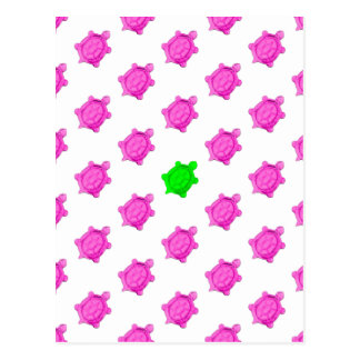 Cute Little Pink/Green Turtle Pattern Postcard