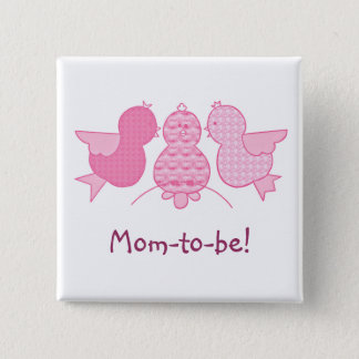 Cute Little Pink Mom to be,  Birds Baby Shower Button