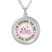 Cute little pink owl Im going to be a big sister Silver Plated Necklace