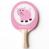 Cute Little Pink Pig Personalized Ping Pong Paddle