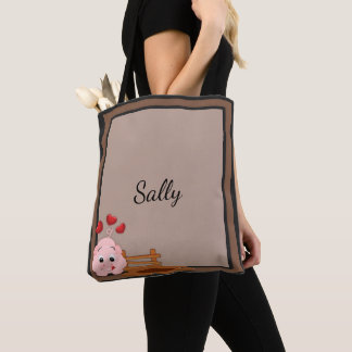 Cute Little Pink Piggy Personalized Tote Bag