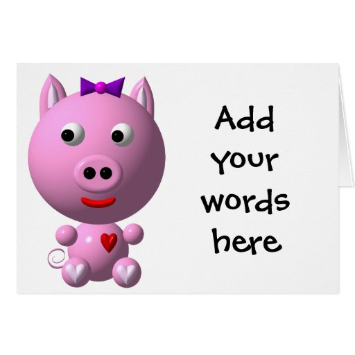 Cute little pink piggy with hearts and bow! greeting card