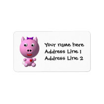 Cute little pink piggy with hearts and bow! label