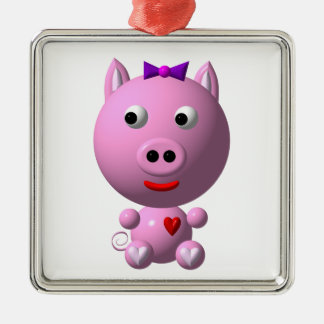 Cute little pink piggy with hearts and bow! metal ornament