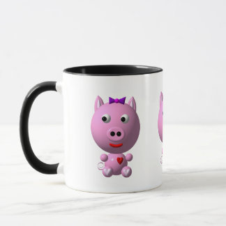 Cute little pink piggy with hearts and bow! mug