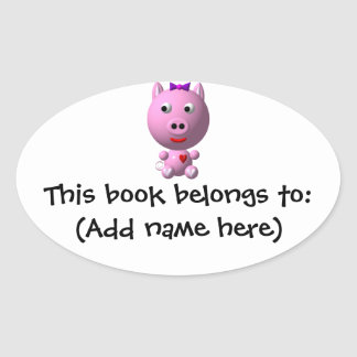 Cute little pink piggy with hearts and bow! oval sticker