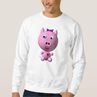 Cute little pink piggy with hearts and bow! pull over sweatshirt
