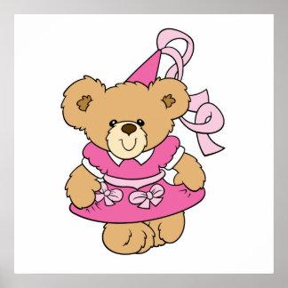 Cute Little Pink Princess Bear Poster