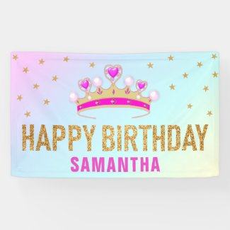 Cute Little Pink Princess Crown Birthday Party Banner