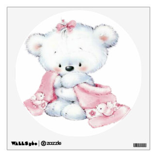 Cute little pink Teddy Bear Wall Decal