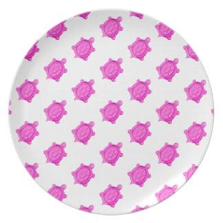 Cute Little Pink Turtle Pattern Dinner Plates