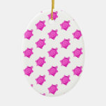 Cute Little Pink Turtle Pattern Christmas Ornaments