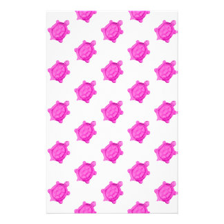 Cute Little Pink Turtle Pattern Stationery Paper