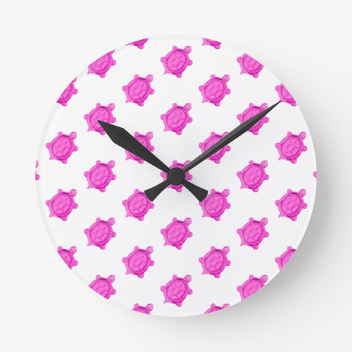 Cute Little Pink Turtle Pattern Wallclock