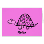 Cute little pink turtle relax card
