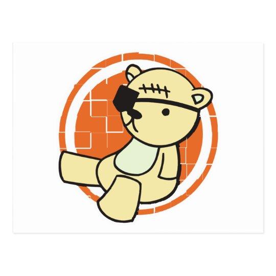 cute little pirate bear postcard