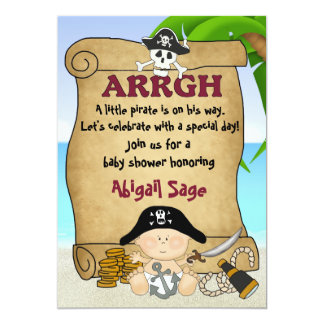 Cute Little Pirate Boys Baby Shower 5x7 Paper Invitation Card