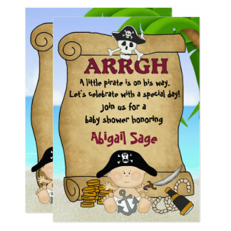 Cute Little Pirate Boys Baby Shower Invitation