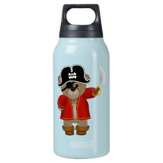 Cute Little Pirate Captain Teddy Bear Cartoon Insulated Water Bottle