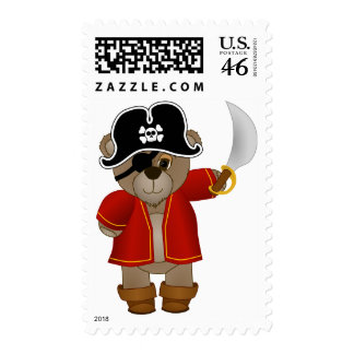 Cute Little Pirate Captain Teddy Bear Cartoon Postage Stamps