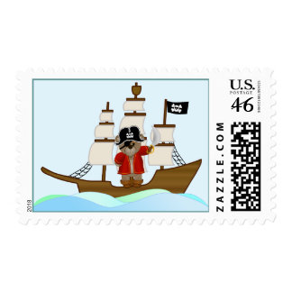 Cute Little Pirate Captain Teddy Bear Cartoon Stamps