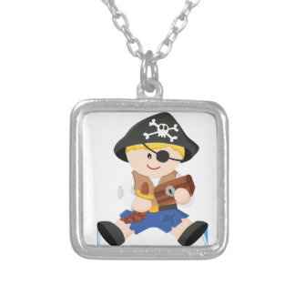 Cute little pirate silver plated necklace