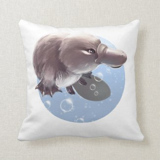 Cute Pillow Illustration : Cute Little Platypus Illustration - Pillow